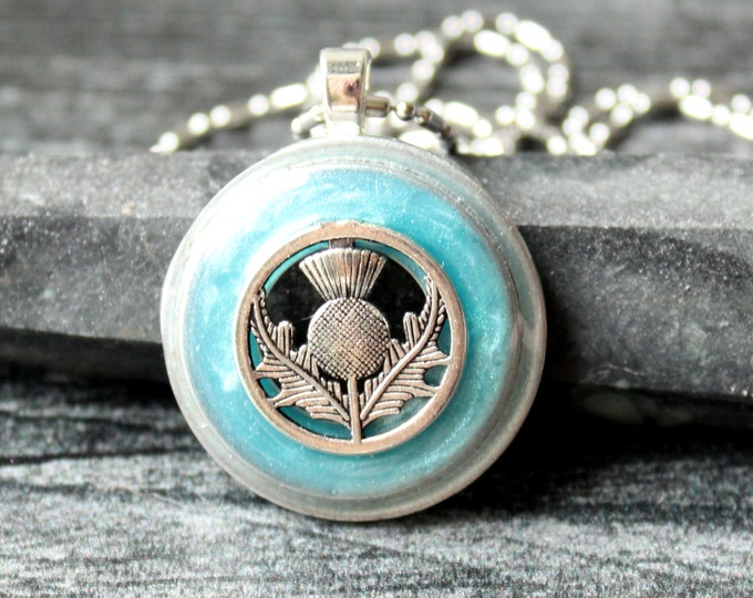 Scottish thistle necklace, light blue, unique gift, nature necklace, Scotland flower, mothers day gift
