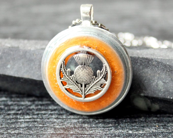 Scottish thistle necklace, golden orange, unique gift, nature necklace, mothers day gift, flower jewelry
