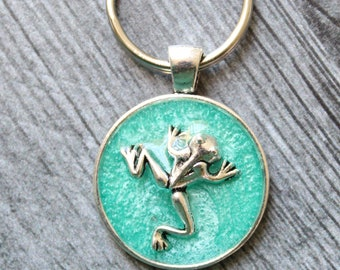 frog keychain, bright green, nature keyring, unique gift, gift for dad