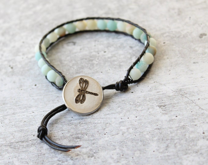 dragonfly bracelet with frosted natural amazonite beads