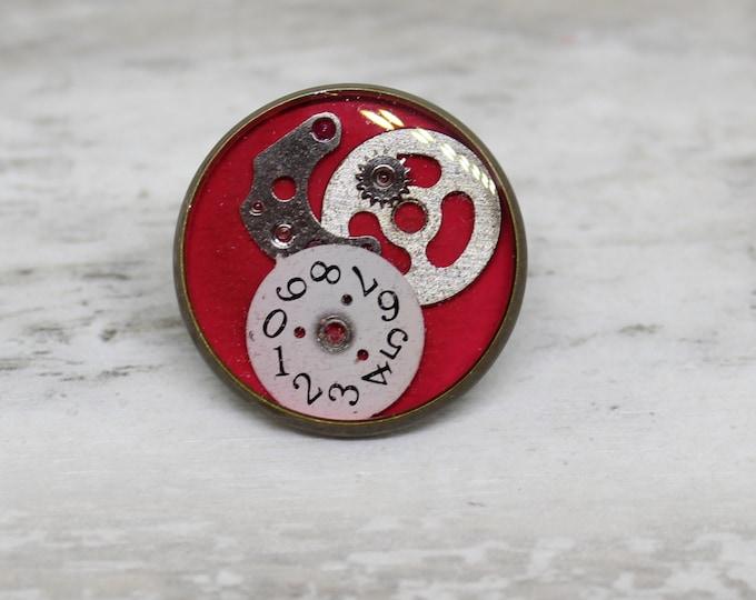 watch gear lapel pin, steampunk tie tack