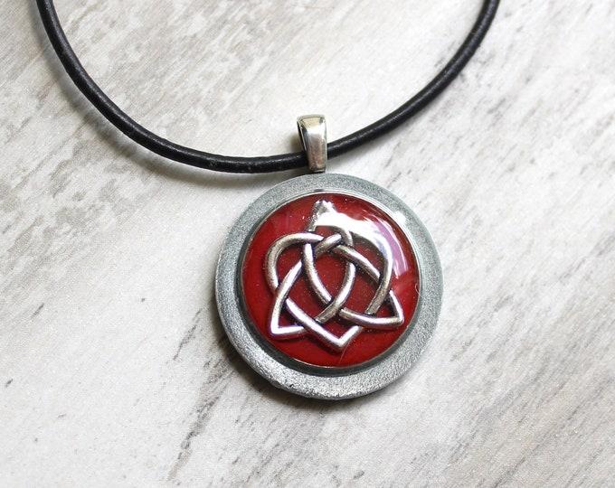 wine Celtic sister knot necklace, best friend jewelry