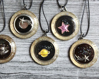 outer space tree ornaments, set of 5, table top tree, miniature tree
