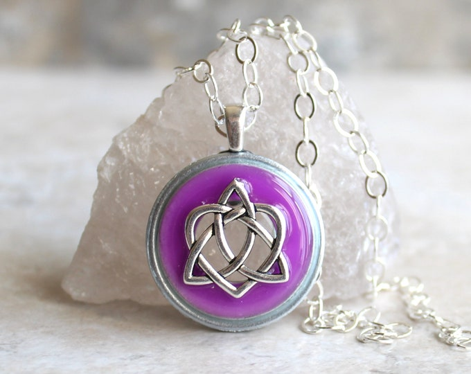 purple Celtic sister knot necklace, glow in the dark, celtic knot jewelry, triquetra necklace, valentine necklace, sister gift, unique gift