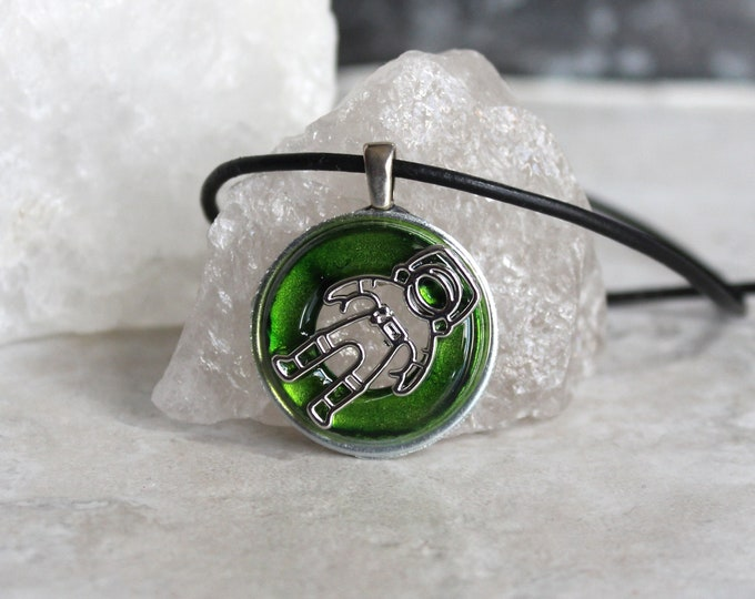green astronaut necklace, outer space jewelry, spaceman necklace, galaxy jewelry, area 51, celestial pendant, mens gift, unique gift