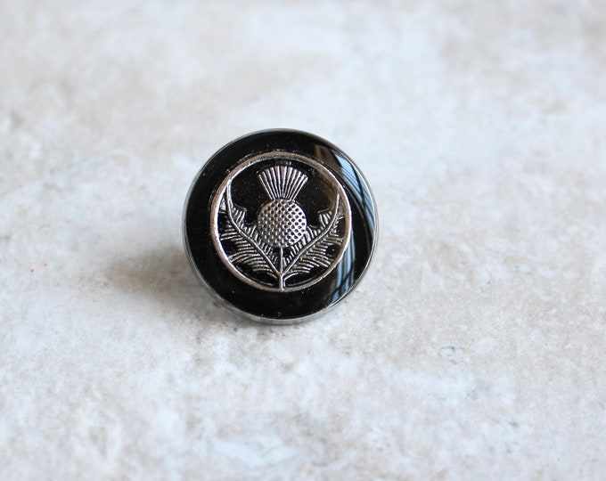 black Scottish thistle tie tack, lapel pin, Scottish wedding, wedding jewelry, nature jewelry, mens jewelry, groomsmen gift, wedding gift