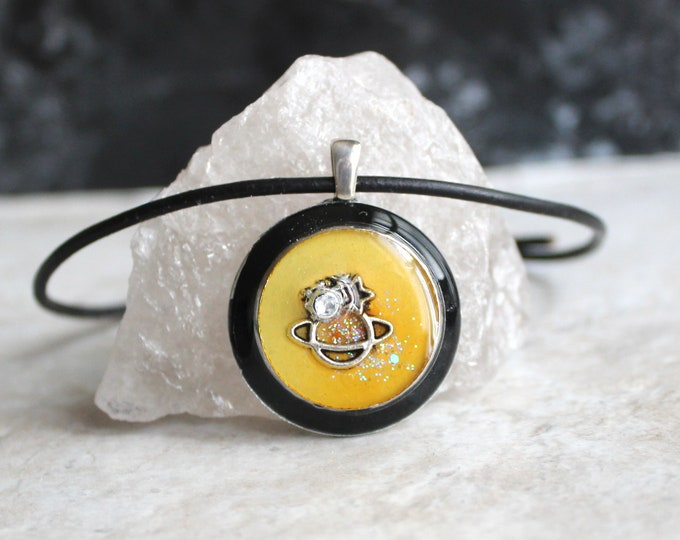 yellow planet necklace, outer space pendant, galaxy necklace, celestial jewelry, Saturn jewelry, unique gift, ready to ship