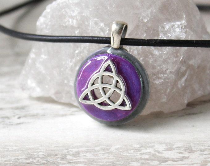 lavender triquetra cord necklace