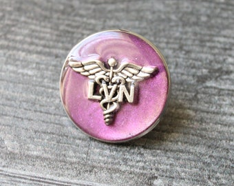 licensed vocational nurse pin, LVN pinning ceremony, white coat ceremony, purple, large