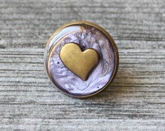 heart pin, lapel pin, tie tack, purple, cute gift for mom, unique gift