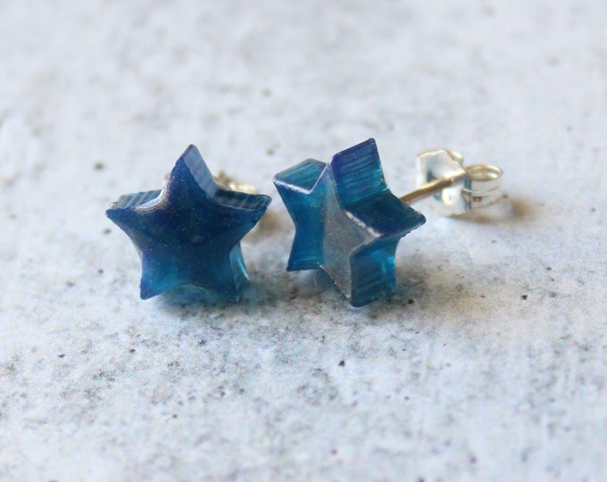navy blue and gold star earrings with sterling silver posts, celestial jewelry, unique gift