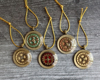 gear ornaments, set of 5, steampunk ornaments, miniature tree ornaments, table top tree ornaments