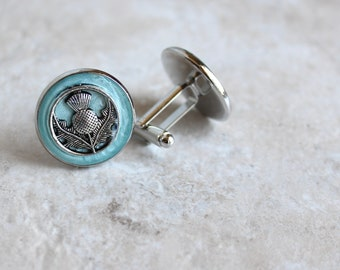 ice blue Scottish thistle cufflinks, mens jewelry, scottish cufflinks, Scotland jewelry, wedding party, groomsmen gift, Scottish wedding