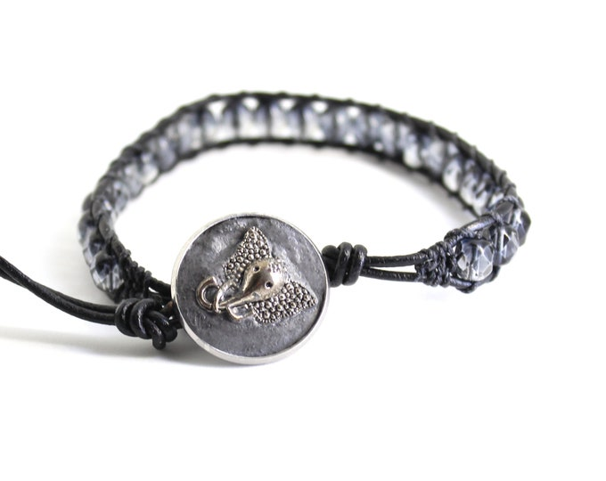 elephant bracelet with gray glass beads and leather cord