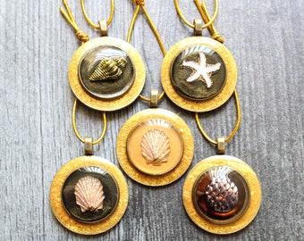 ocean themed tree ornaments, set of 5, miniature tree, summer ornaments, starfish ornament, mermaid scale, scallop shell, seashell ornament