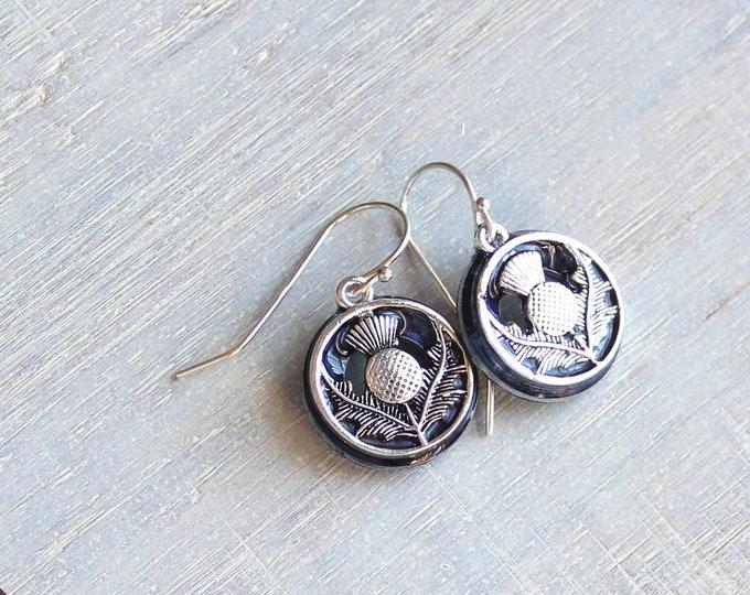 heather Scottish thistle earrings, flower dangle earrings, Scottish jewelry