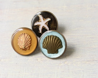 beach theme set of 3 lapel pins