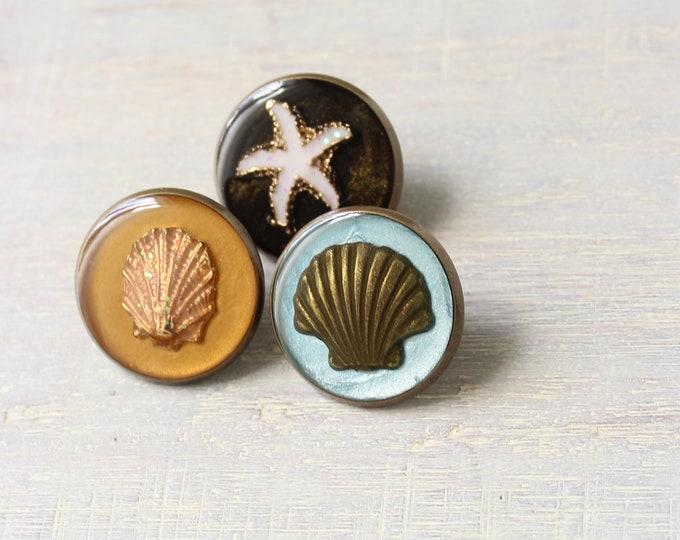 beach theme set of 3 lapel pins