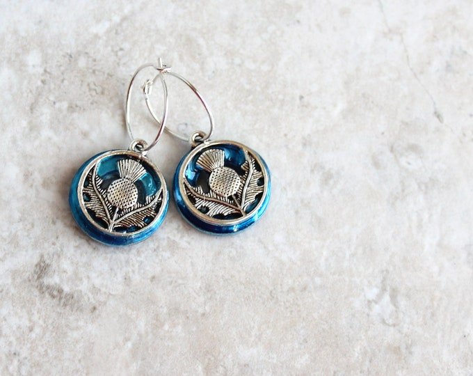 sky blue Scottish thistle hoop earrings, Scottish jewelry, unique gift, hoop with charm, floral jewelry, nature jewelry