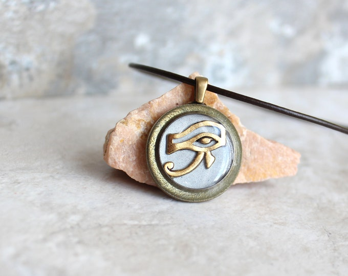 silver gray and gold Eye of Horus necklace, eye of Ra jewelry, Egyptian pendant, mens jewelry, boyfriend gift, mens necklace, unique gift