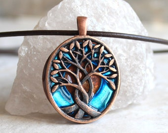 sky blue Celtic tree of life necklace, nature necklace, mens gift, boyfriend gift, mens jewelry, mens necklace, unique gift