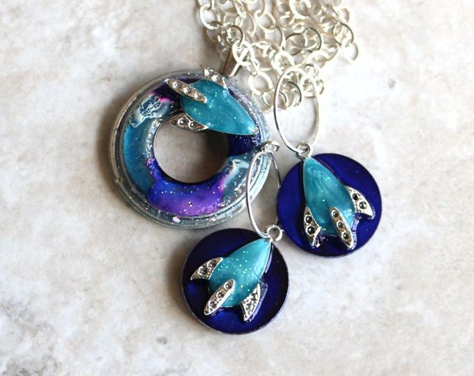 galaxy gift set, rocket ship jewelry, spaceship necklace, spaceship earrings, hoop earrings, unique gift, space exploration, outer space