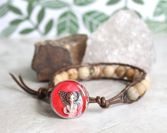 Elephant bracelet with picture jasper beads and leather cord