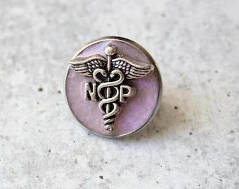 nurse practitioner pin, np pinning ceremony, nurse graduation gift, white coat ceremony, pink opal