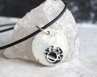 off white planet necklace, outer space pendant, galaxy necklace, celestial jewelry, Saturn jewelry, unique gift, boyfriend gift