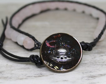 UFO bracelet made with natural rose quartz beads and leather cord