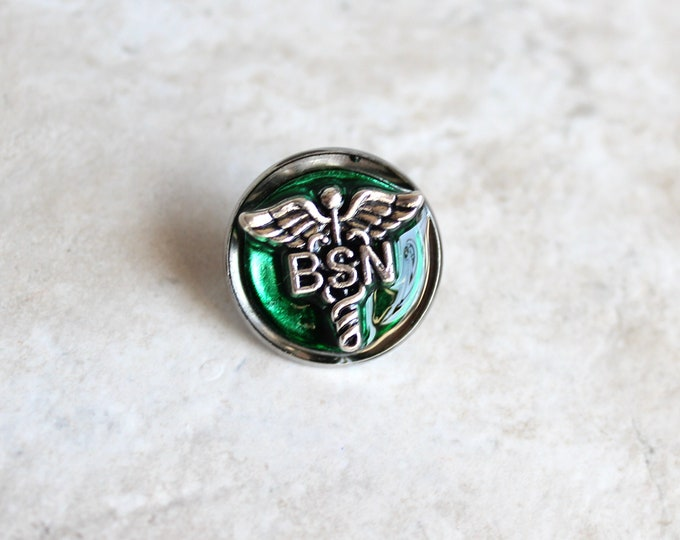 forest green Bachelor of Science nursing pin, BSN pinning ceremony, nurse graduation gift, white coat ceremony