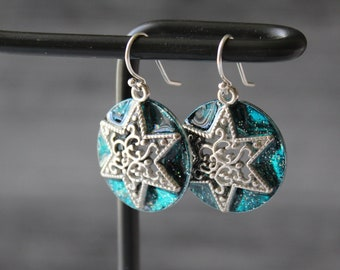 star earrings with sterling silver ear wires, celestial jewelry, unique gift