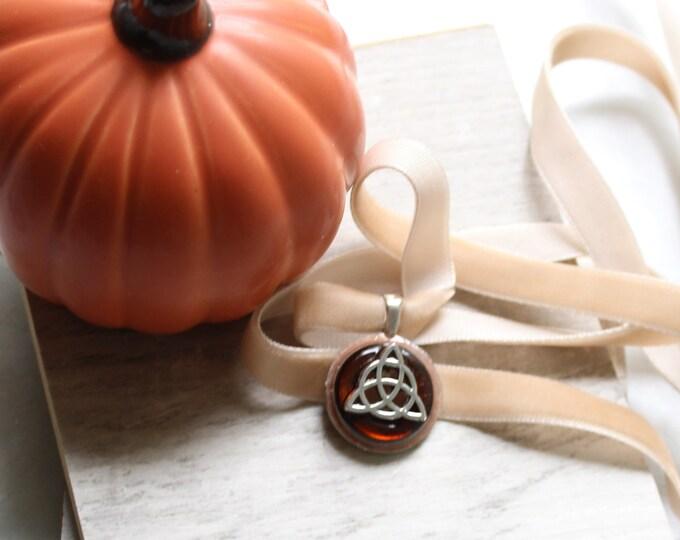 triquetra necklace, velvet choker with pendant