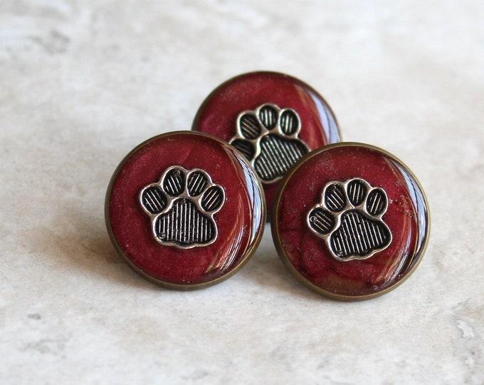 garnet red paw print pin, lapel pin, tie tack, dog paw, cat paw, animal paw, veterinarian pin, vet tech pin, unique gift, graduation gift