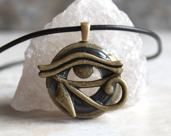 charcoal gray Eye of Horus necklace, eye of Ra jewelry, Egyptian pendant, mens jewelry, boyfriend gift, mens necklace, unique gift