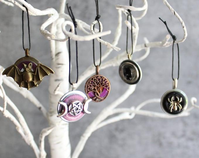 Halloween tree ornaments, set of 5, miniature tree, spooky tree, skull ornament, bat ornament, spider ornament, pentagram ornament