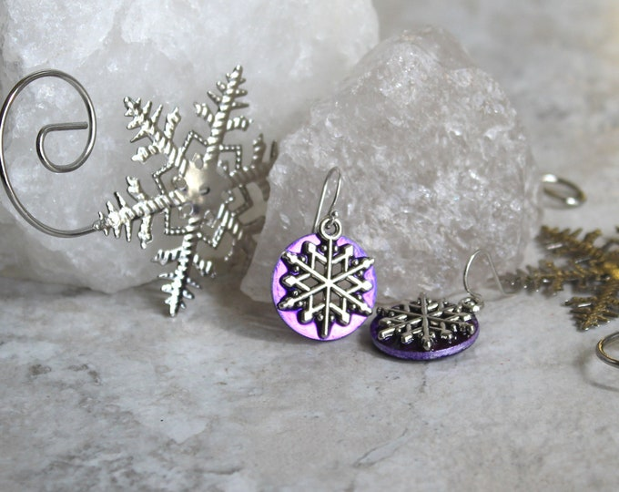 purple snowflake earrings, snowflake jewelry, winter jewelry, Christmas earrings, nature jewelry, unique gift
