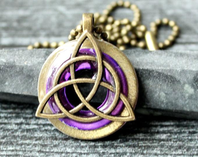 purple triquetra necklace, druid pendant, mens jewelry, mens necklace, wiccan jewelry, boyfriend gift