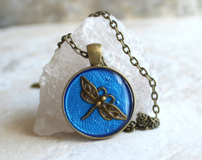 blue dragonfly necklace, dragonfly jewelry, nature necklace, unique gift, ready to ship, boho jewelry, bohemian style, festival wear