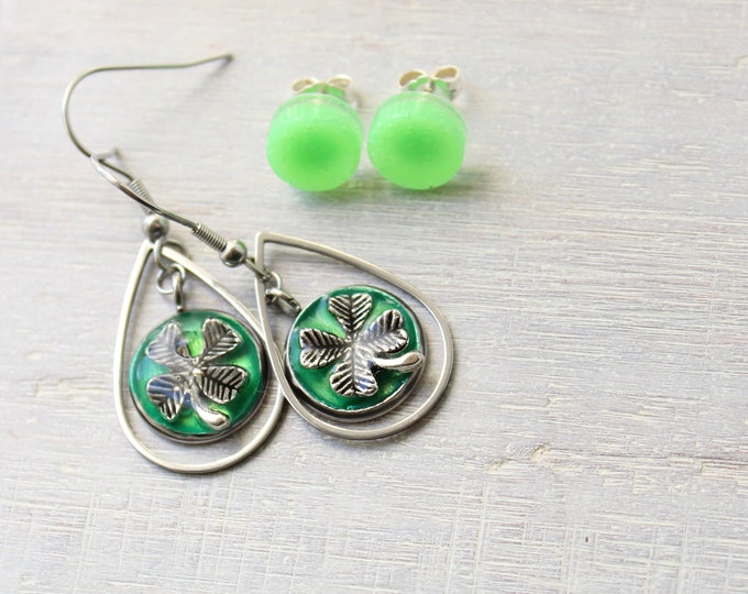 green four leaf clover earrings on stainless steel ear wires paired with green circle post earrings