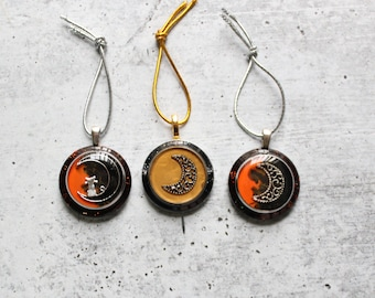 moon ornament, set of three, crescent moon tree decoration, Halloween tree
