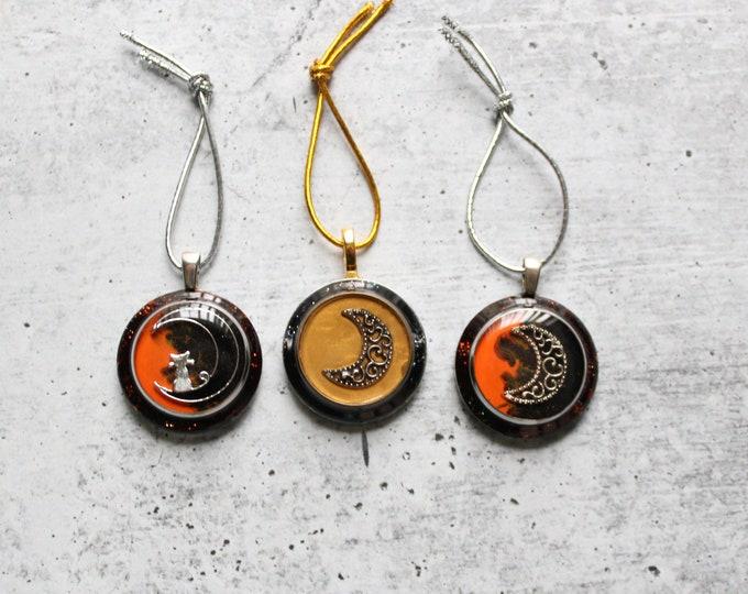 moon ornament, set of three, crescent moon tree decoration, Halloween tree