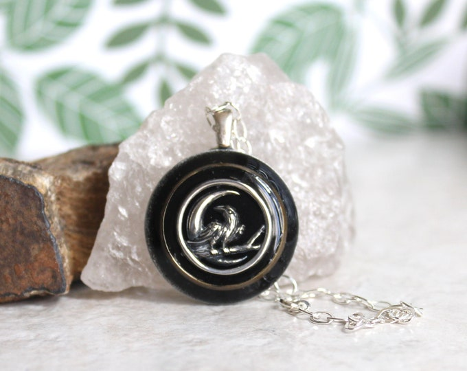 raven necklace, Wiccan jewelry, nature necklace, raven jewelry, spirit animal, edgar allan poe, unique gift, literary jewelry