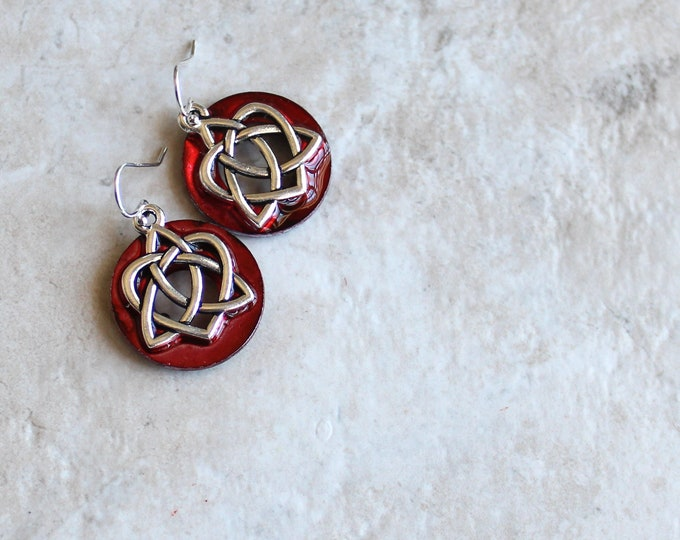 red Celtic sister knot earrings, Celtic jewelry, sister gift, valentine earrings, unique gift