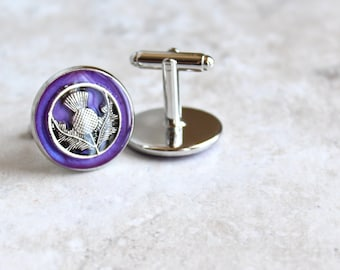purple Scottish thistle cufflinks, mens jewelry, Scotland jewelry, scottish cufflinks, groomsmen gift, best man gift, Scottish wedding