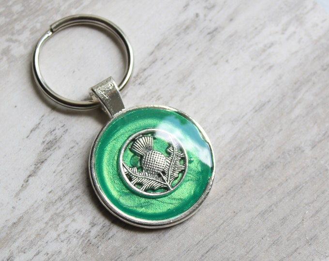 green Scottish thistle keychain, floral zipper pull