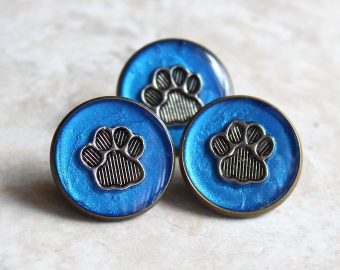 blue paw print pin, lapel pin, tie tack, dog paw, cat paw, animal paw, veterinarian pin, vet tech pin, unique gift, graduation gift