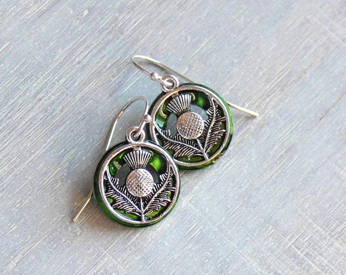green Scottish thistle earrings, dangle earrings, Scottish jewelry, unique gift, Scottish wedding, wedding jewelry, bridesmaids gift