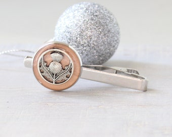 Scottish thistle tie bar, rose gold tie clip, mens jewelry