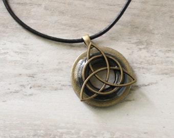 charcoal gray triquetra necklace, Celtic knot jewelry, mens Irish pendant, boyfriend gift, wiccan necklace, fathers day